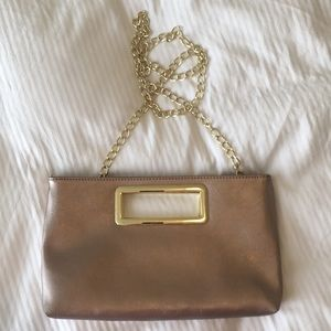 Rose gold clutch/purse with gold chain